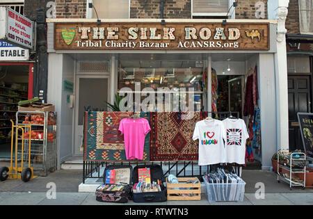 The Silk Road, Tribal Charity Bazaar shop, Marchmont Street, Bloomsbury London England Britain UK - Stock Image