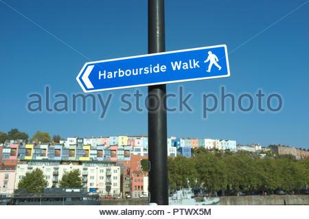 Bristol's Floating Harbour - pedestrian direction sign for a harbourside walk, in Bristol, UK. - Stock Image