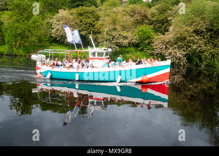 Pleasure boat Juno on a trip down the river Tees from Yarm - Stock Image
