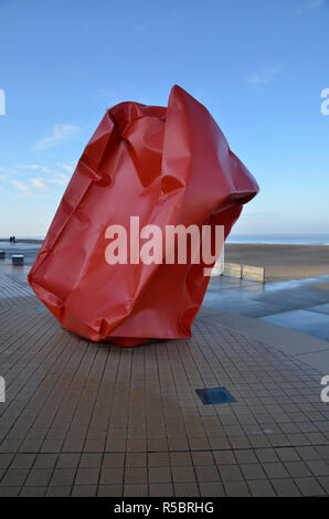 The Rock Strangers artwork by Arne Quinze on the seafront in Ostend, Belgium at heroes of the Sea Square - Stock Image