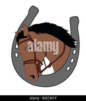 horse head in horseshoe, logo design - vector - Stock Image