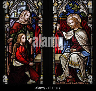 Stained glass window depicting the Parable of Martha and Mary, All Saints Church, Beighton, Norfolk - Stock Image