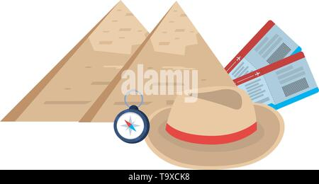 Egyptian pyramids landmark design, Travel trip vacation tourism journey and tourist theme Vector illustration - Stock Image