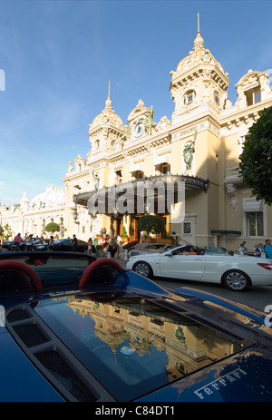 Monaco, Ferrari with reflection of Casino - Stock Image