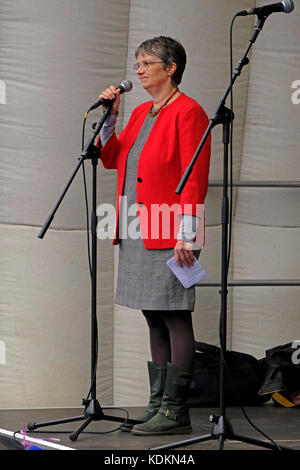 Bristol, UK. 14th October, 2017. Molly Scott Cato, Green Party MEP for South-West England and Gibraltar, speaks - Stock Image