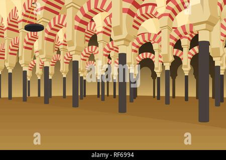 A vector illustration of Inside of Alhambra Palace in Spain - Stock Image