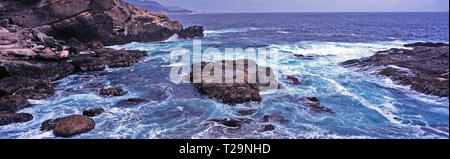 Rocky coastline of the Big Sur California at Point Lobos with seal laying on the central rock - Stock Image