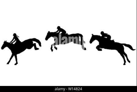 Horse rider jump in three steps, Jumping show. Equestrian sport. High quality silhouettes - vector - Stock Image