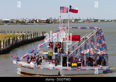 Decorated shrimp boat the Blessing of the Fleet festival at Kemah boardwalk Texas - Stock Image