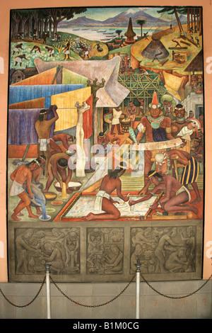 Mural in the National Palace Depicting Life in Ancient Aztec Tenochitlan, Zocalo Square, Plaza de la Constitucion, - Stock Image