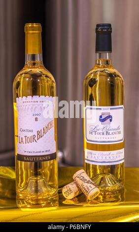 South West France, PDO wine Sauternes vineyard, chateau La Tour Blanche bottles, First Growth '1er cru classe'. Mandatory credit: La Tour Blanche castle - Stock Image