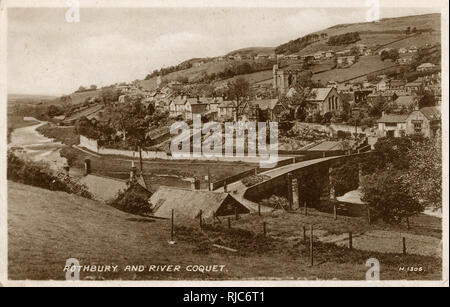 A view of Rothbury and River Coquet. - Stock Image