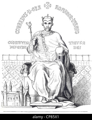Conrad II, Conrad the Elder, 990 - 1039, historical illustration, 19th century, Konrad II. oder Konrad der Ältere - Stock Image