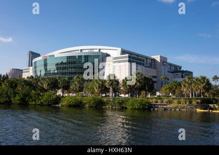 Amalie Arena and Hillsborough River, Tampa, Florida, USA - Stock Image
