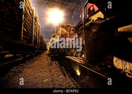 Railroad at night - Stock Image