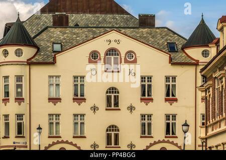 An Art Nouveau Building Facade Alesund Norway - Stock Image
