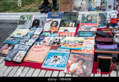 Vinyl records on street market in Spain - Stock Image