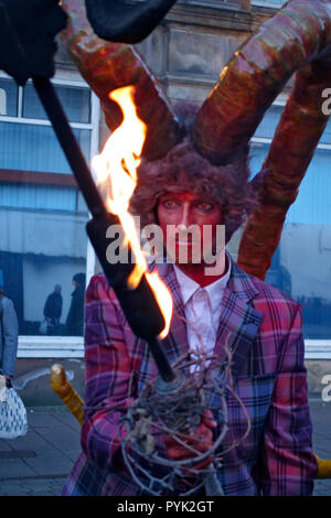 Ayrshire, UK. 28th Oct, 2018. The 'Day O' The Deid' procession was lead through Ayr town centre by a Satyr, half man half goat. Credit: PictureScotland/Alamy Live News - Stock Image