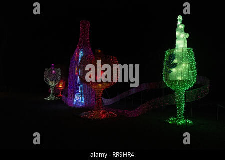 Gaillac , France 2017, Light display to advertise the wine production of the region during Christmas - Stock Image