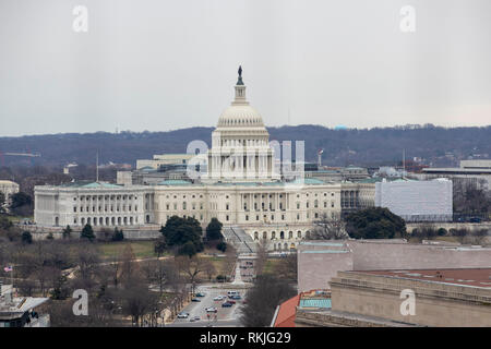 The United States Capitol is seen in Washington, DC on January 12, 2019. - Stock Image