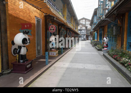Panda Creativity street in Dujiangyan city, Sichuan Province, China - Stock Image