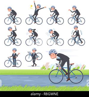 A set of businessman on a road bike.There is an action that is enjoying.It's vector art so it's easy to edit. - Stock Image