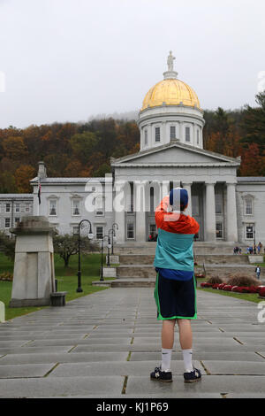 Boy taking picture of Vermont State House, Montpelier, VT, USA - Stock Image