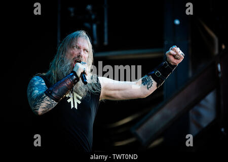 Copenhagen, Denmark. 22nd June, 2019. Copenhagen, Denmark - June 22nd, 2019. The Swedish melodic death metal band Amon Amarth performs a live concert during the Danish heavy metal festival Copenhell 2019 in Copenhagen. Here vocalist Johan Hegg is seen live on stage. (Photo Credit: Gonzales Photo/Alamy Live News - Stock Image