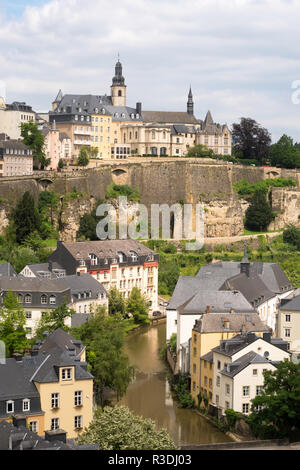 View of Luxembourg City from the walls looking over the Plateau du Rham, Luxembourg, Europe - Stock Image