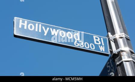 Hollywood Boulevard 6300 W street sign, with Vine Street on the Walk of Fame, in Hollywood, Los Angeles, California, USA - Stock Image