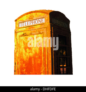 Isolated vintage outdoortelephone booth with clipping path - Stock Image