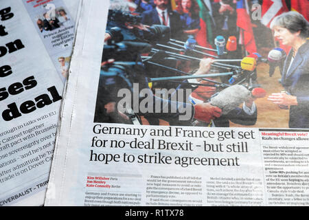 Newspaper headline 'Germany and France get set for no-deal Brexit - but still hope to strike agreement'  18 October 2018   London England UK - Stock Image