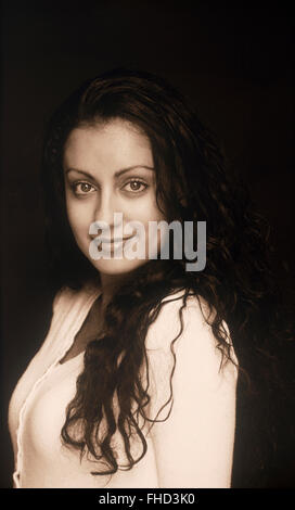 Portrait of Persian woman with beautiful eyes in black and white - Stock Image