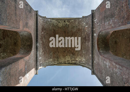 Looking upwards from underneath Ouse Valley (Balcombe) Viaduct, West Sussex, UK - Stock Image