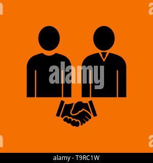 Two Man Making Deal Icon. Black on Orange Background. Vector Illustration. - Stock Image
