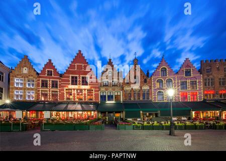 Old Market square in Bruges, Belgium - Stock Image