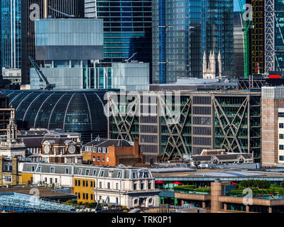 City of London Cityscape - compressed perspective shot of the varied building styles in the City of London Financial District - Stock Image