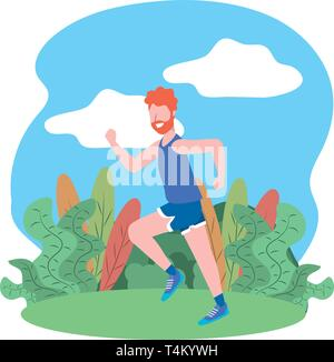 fitness sport train man running outdoor scene cartoon vector illustration graphic design - Stock Image