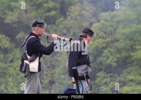 Bugler at Civi War Reenactment at Port Hudson, La - Stock Image
