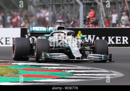 Silverstone Circuit. Northampton, UK. 13th July, 2019. FIA Formula 1 Grand Prix of Britain, Qualification Day; Lewis Hamilton driving his Mercedes AMG Petronas Motorsport F1 W10 takes 2nd on pole Credit: Action Plus Sports/Alamy Live News - Stock Image