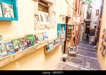 Chania, Bookstore on a Street in Old Town, Crete, Greece, Europe - Stock Image