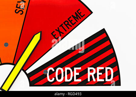 This is the CFA (Country Fire Authority) fire danger rating system.The extreme fire warning rating,that was declared on this day is rated as a Total F - Stock Image