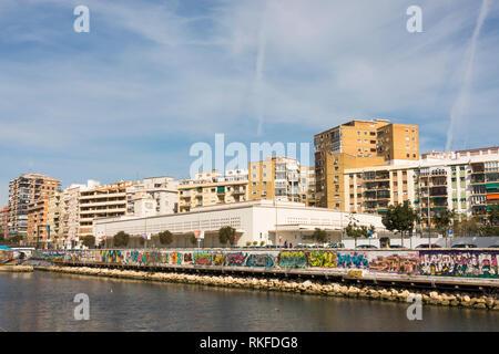 Malaga Spain, Malaga CAC museum at Gudalmedina river, soho district, CAC Malaga. Spain. - Stock Image