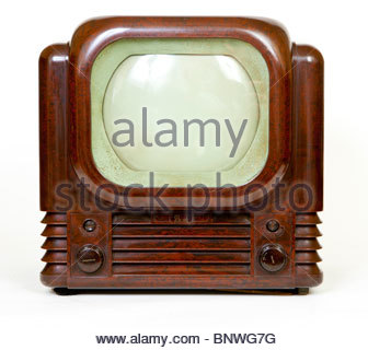 Bush TV22 from 1950 front view, classic Bakelite TV - Stock Image