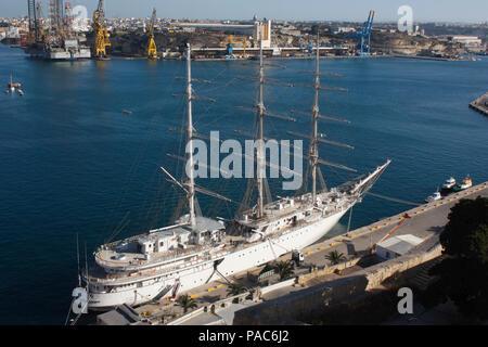 The Algerian National Navy sail training ship El-Mellah during a port visit to Malta - Stock Image