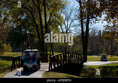 Golfers make their way along a path in their golf cart at Kingswood Golf Cart in Bella Vista, Ark. - Stock Image