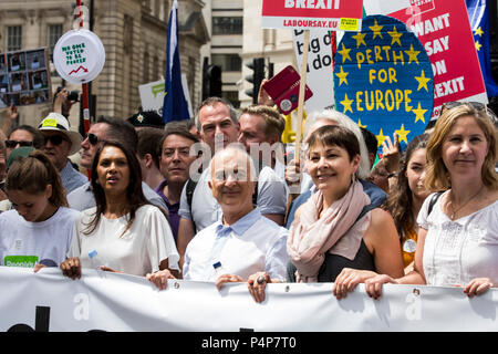 London, UK. 23 June 2018. L-R: Gina Miller, Tony Robinson and Caroline Lucas. Remain supporters and protesters at an Anti-Brexit march and rally for a People's Vote. Photo: Bettina Strenske/Alamy Live News - Stock Image