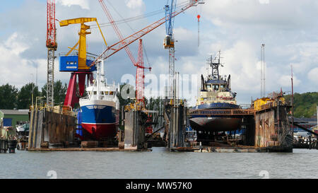 Ships being re-fitted in Gothenburg shipyard - Stock Image