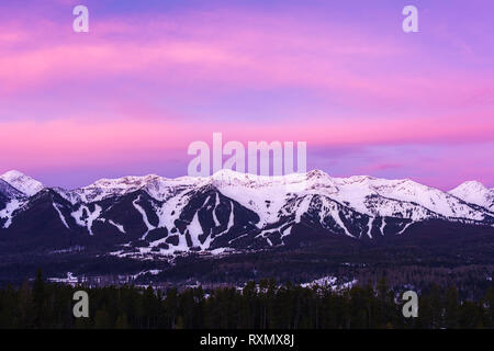 Sunrise above Fernie Alpine Resort, Fernie, British Columbia, Canada - Stock Image