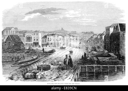 Auckland New Zealand North Island 1853 from the wharf - Stock Image